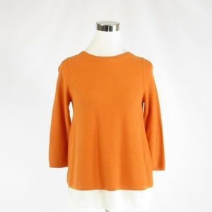 The Limited orange white stretch blouse XS
